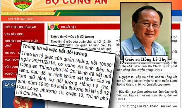 """GS Hồng Lê Thọ bị bắt với cáo buộc """"tuyên truyền chống chế độ"""""""