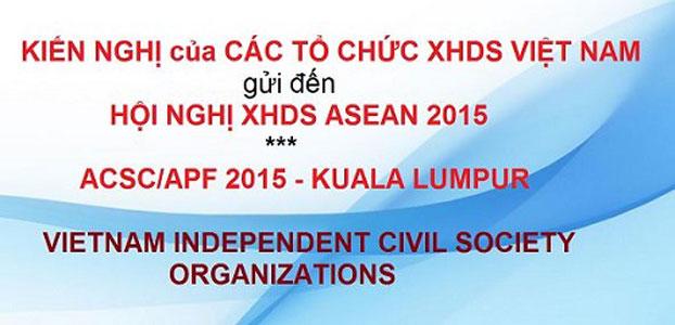 Các tổ chức XHDSVN gởi kiến nghị đến Hội nghị XHDS ASEAN 2015
